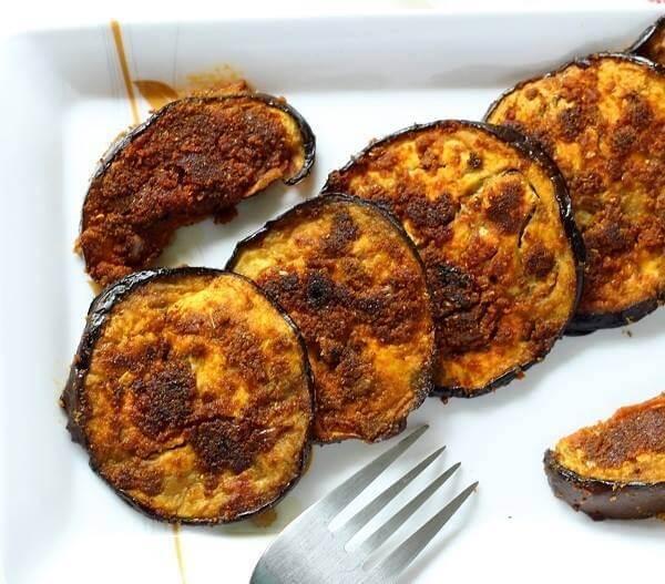 રીંગણ ના પલીતા -Ringla na Palita - Crispy Eggplant - Crispy Aubergine Recipe