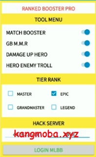 APK Mod Menu VIP Hack Ranked Booster Pro Mobile Legends Patch Terbaru