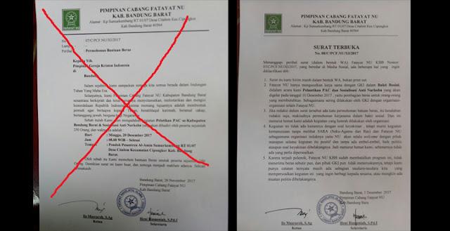 Surat Edaran dan Klarifikasi Soal Permohonan Bantuan Beras dari Fatayat NU Ke GKI
