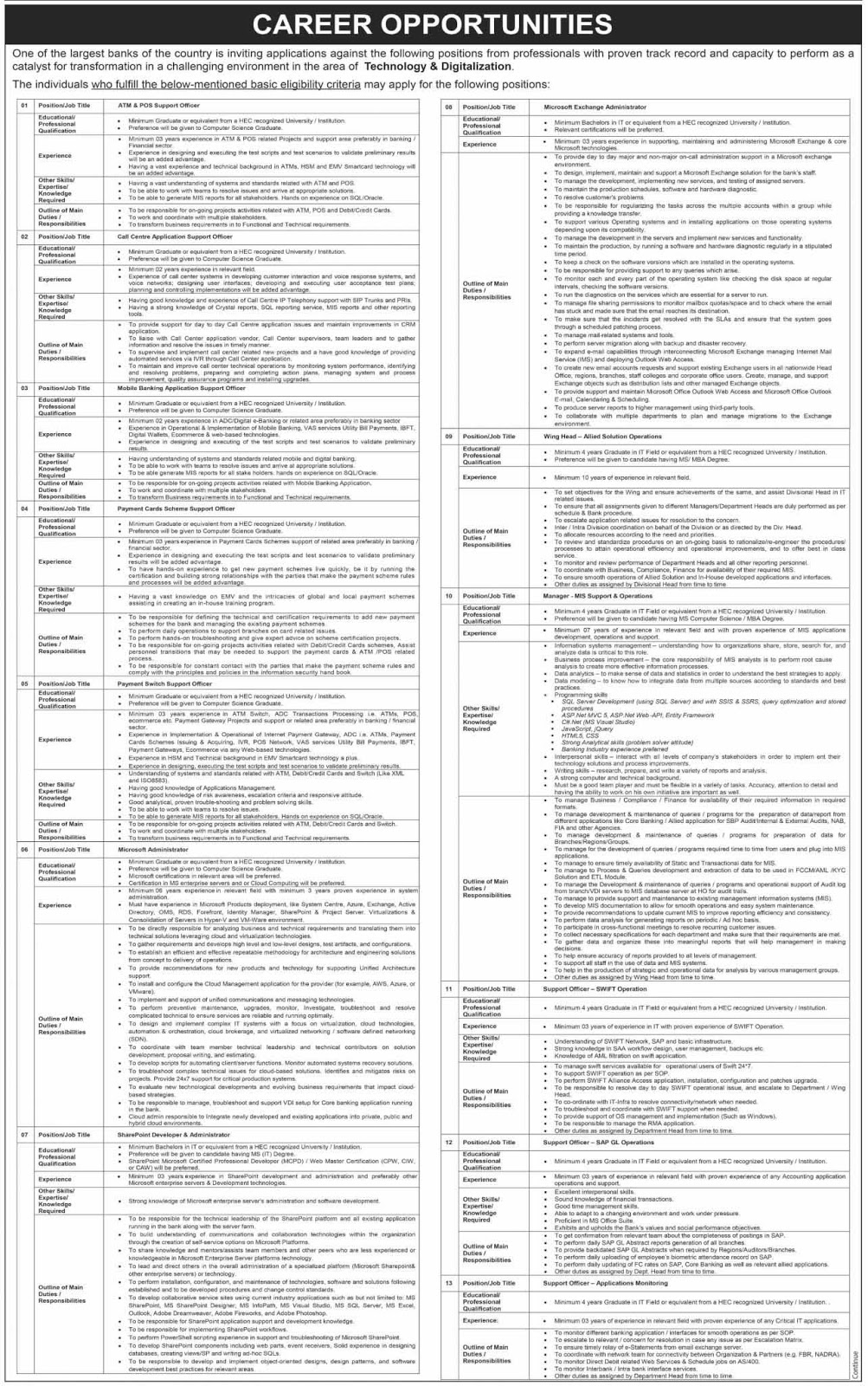National Bank of Pakistan (NBP) Jobs 2020
