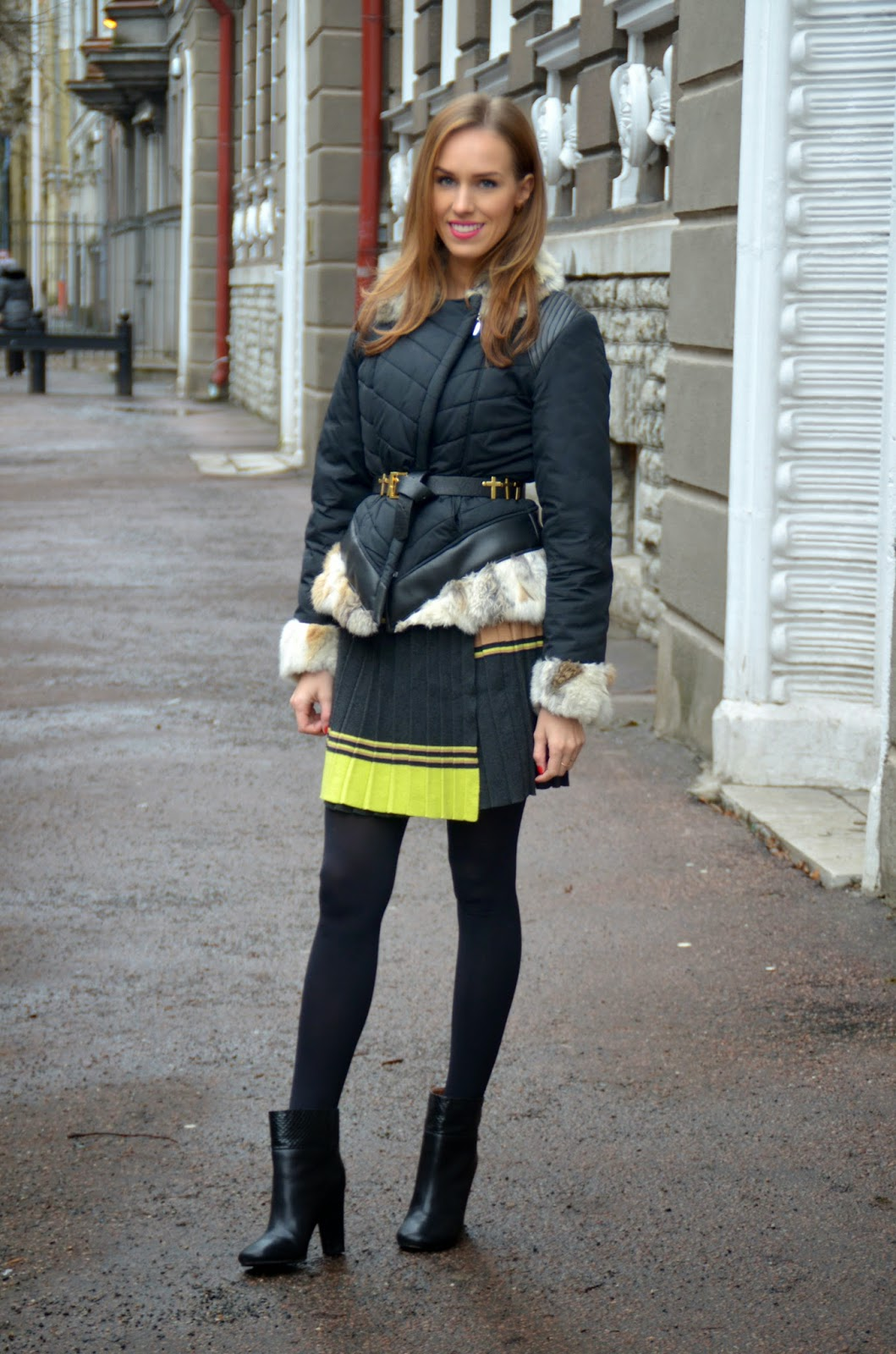 french-connection-pleated-mini-skirt-see-by-chloe-ankle-boots-fur-jacket kristjaana mere