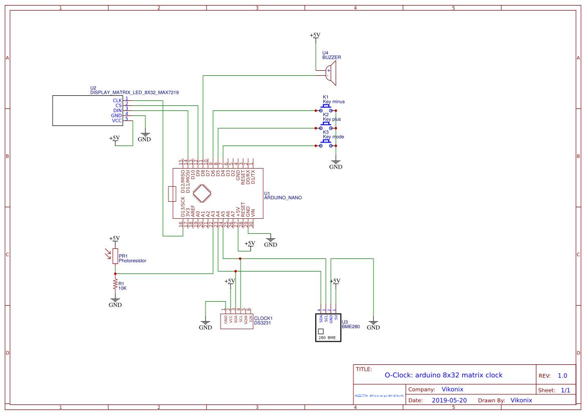 المخطط الكهربائي للساعة الالكترونية