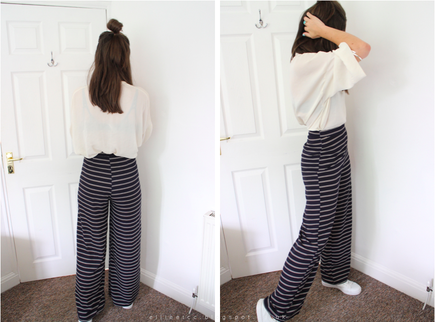 wide leg trousers, fashion, Nobody's Child, style, 70's, 70s, Zara, trainers, fringe bag, ASOS, high waisted, OOTD, outfit,