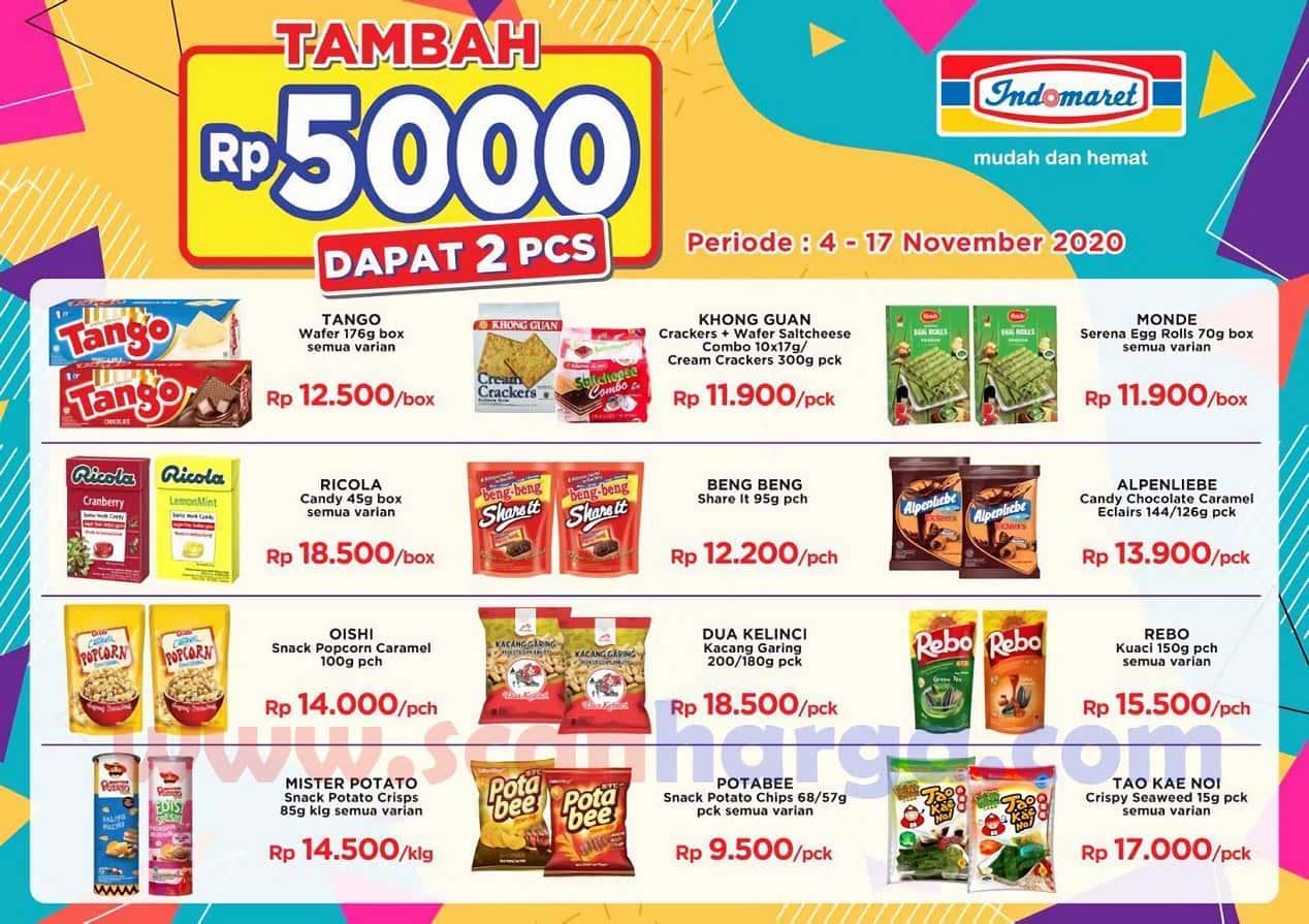 Indomaret Tambah + Rp 5000 Dapat 2 PCS Periode 4 - 17 November 2020