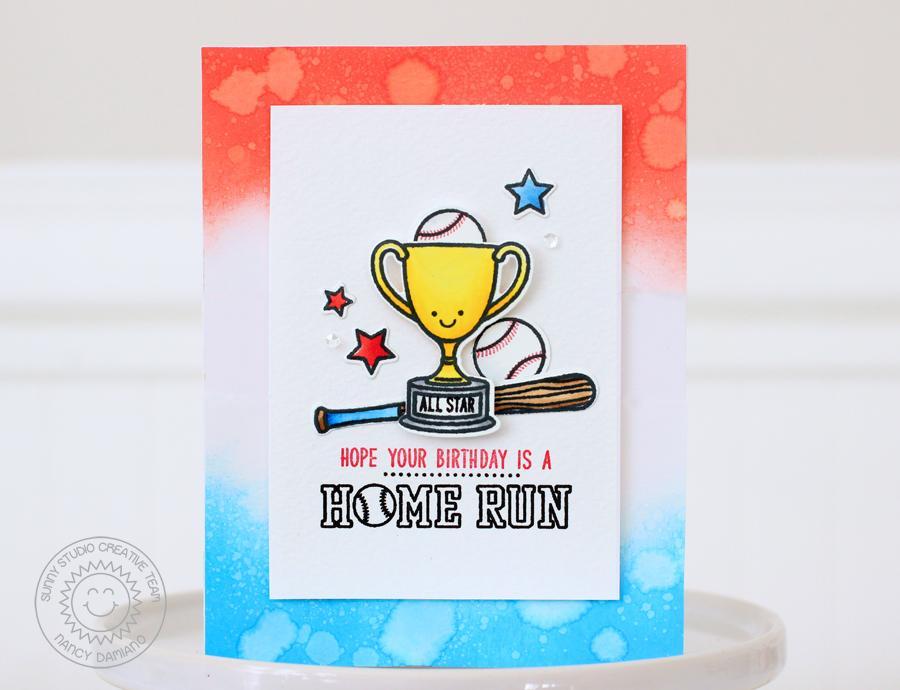 Sunny Studio Team Player Baseball Themed Birthday Card With