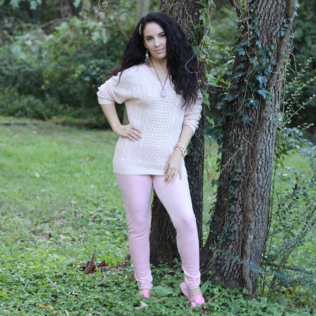 Pink Sweater and Velour Leggings