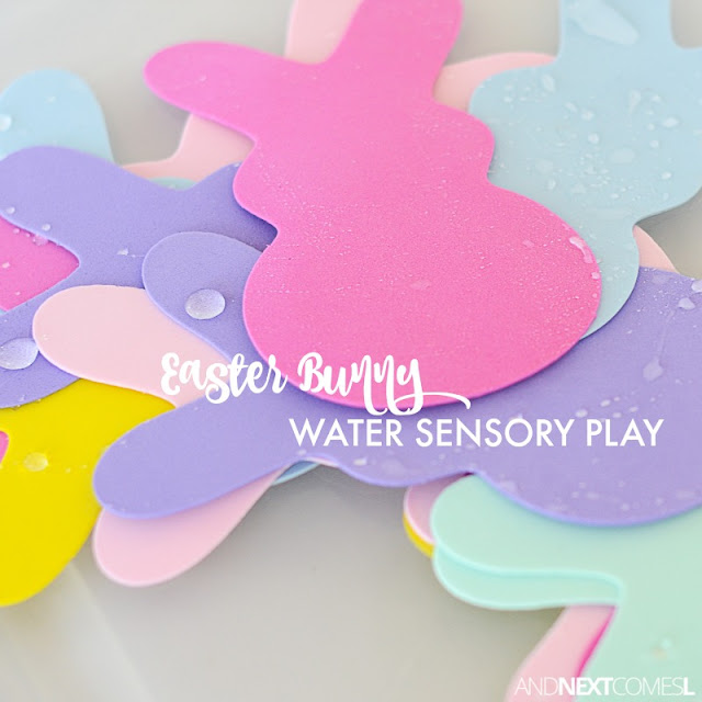 Simple Easter themed sensory bin for toddlers and preschoolers from And Next Comes L