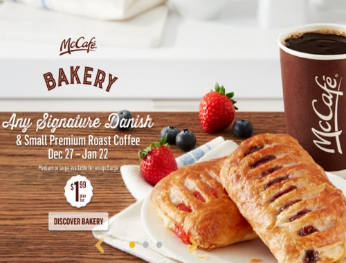 McDonalds Signature Danish + Small Coffee $1.99