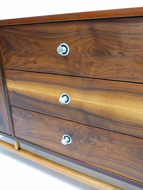 Stanley Mid-Century Walnut Rosewood Inlay Credenza Dresser Brushed Nickel