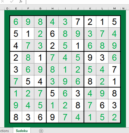Raj Excel Excel Game Sudoku In Excel Work And Play