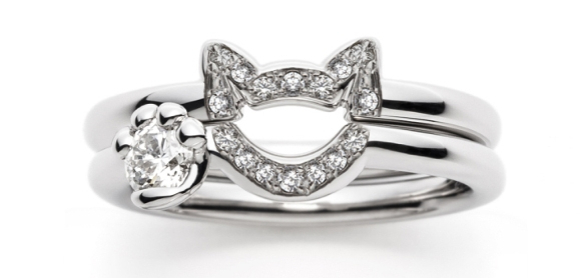 diamond neko wedding rings