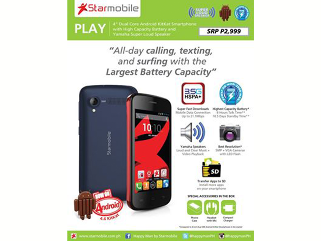Starmobile Re-introduces Play with Android KitKat Update. Still Priced at Php 2,999