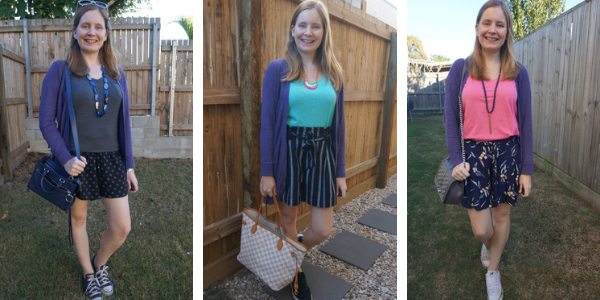 3 outfit ideas shorts and light purple cardigan awayfromblue blog