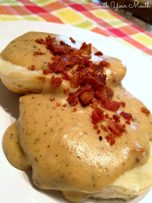 Bacon Gravy! A rich country gravy recipe made from bacon drippings served over biscuits or toast.