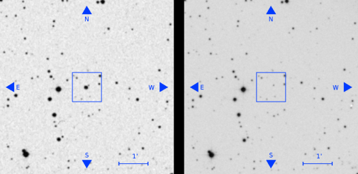 A source visible in an old plate (left, seen as the bright source at the centre of the square) has disappeared in a later plate (right). From Villarroel et al. (2019)