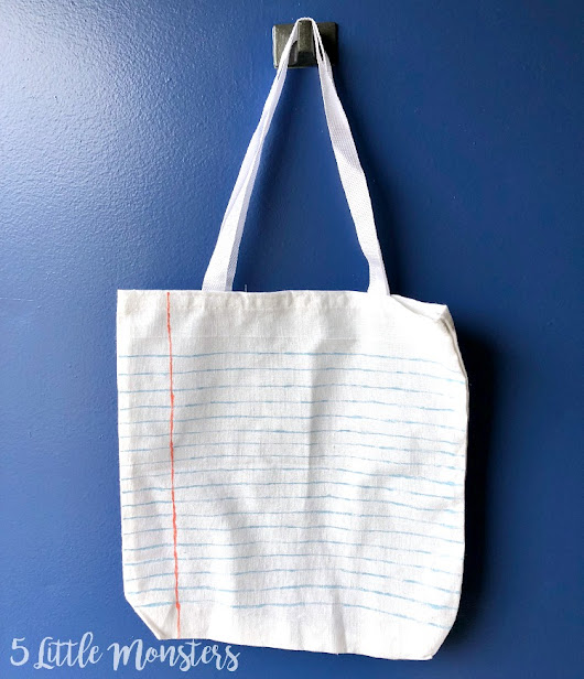 Lined Paper Painted Tote Bag