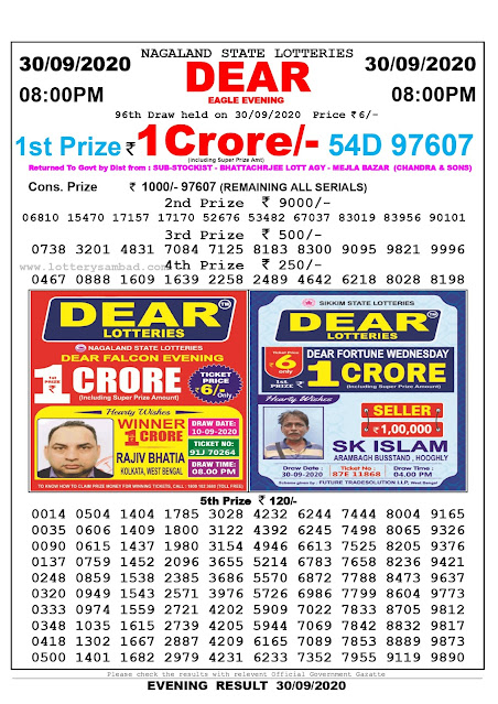 Nagaland State Lottery Sambad 30-09-2020 Today Result 8 PM