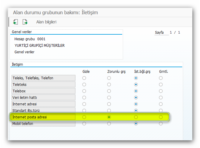 SAP Cari Kart Alanlarının Durumu