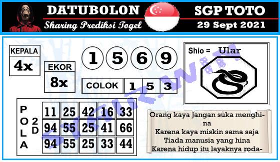 Datubolon Sgp Rabu 29 September 2021