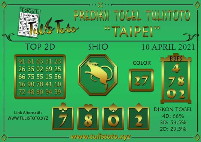 Prediksi Togel TAIPEI TULISTOTO 10 APRIL 2021