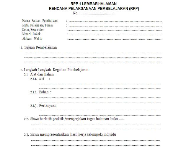 Format RPP 1 Lembar sesuai edaran Kemendikbud No. 14 Tahun 2019