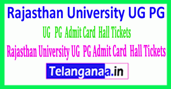 Rajasthan University UG PG Admit Card / Hall Tickets Download