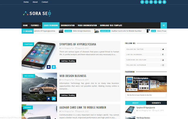 Sora Seo Responsive Personal Blog Tutorial Tips and Tricks Tech Blog Blogger Template Theme