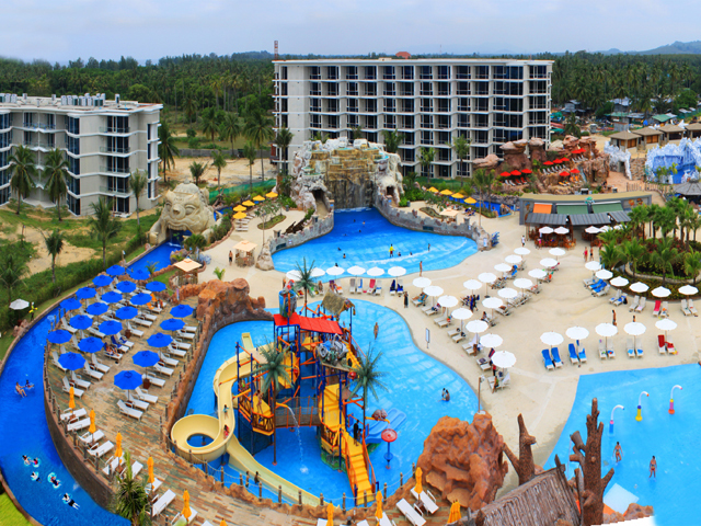 a wide view of the splash jungle waterpark in Phuket