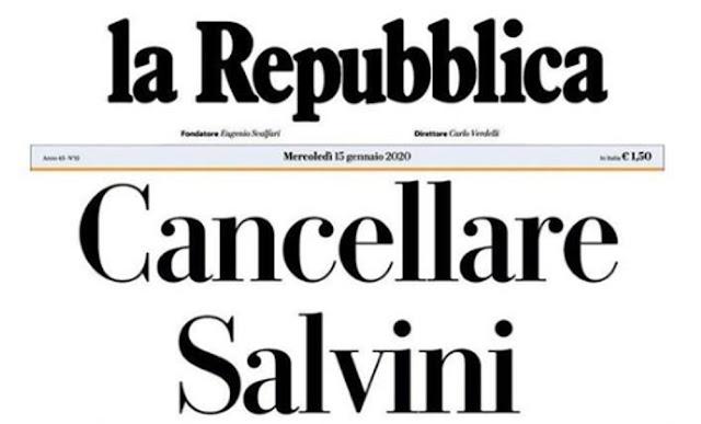 Repubblica contro Salvini, la risposta del leader della Lega
