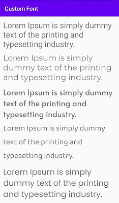custom fonts added to the textview