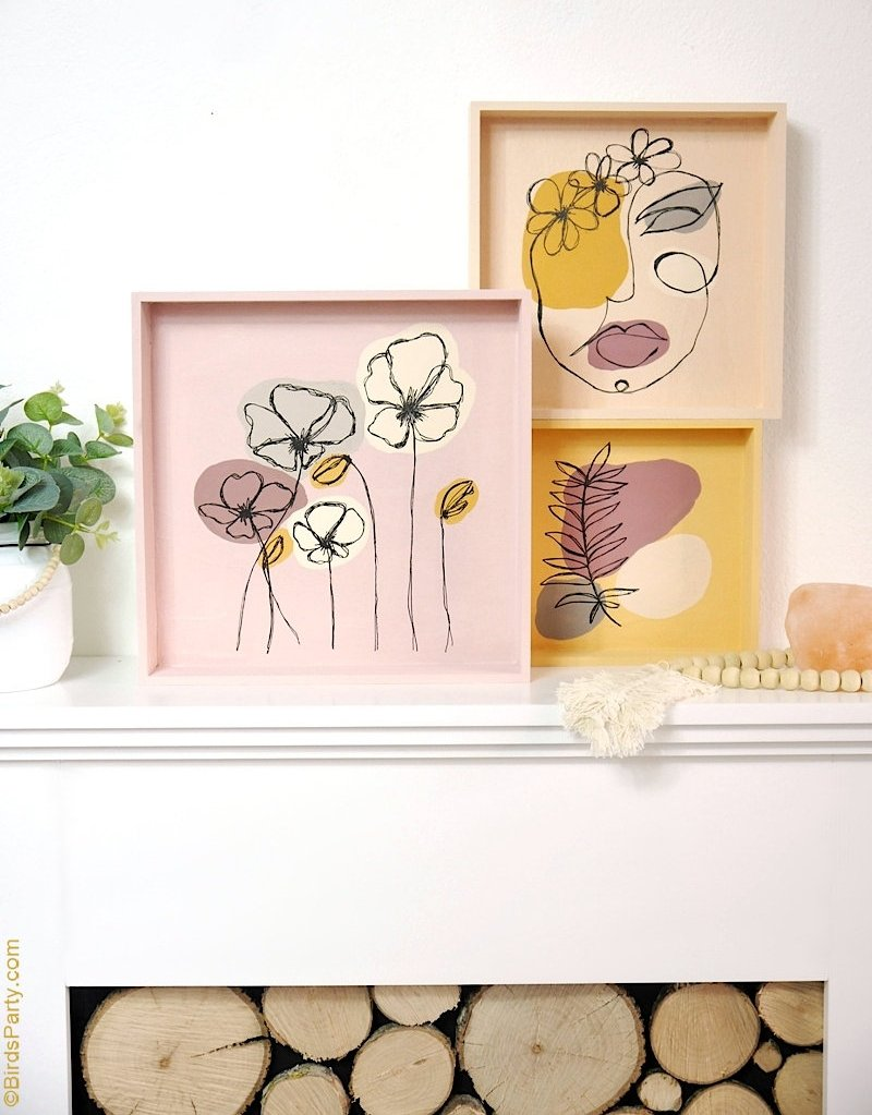Easy DIY Modern Wall Art Paintings - easy acrylic painting techniques inspired by line art and abstract painting for your home decor in a boho style! by BirdsParty.com @birdsparty #diy #art #wallart #lineart #modernpainting #diypainting #diycanvas #canvasart