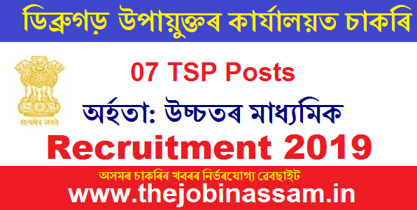 DC Office Dibrugarh Recruitment 2019: Technical Support Persons (TSP/Data Entry Operator)