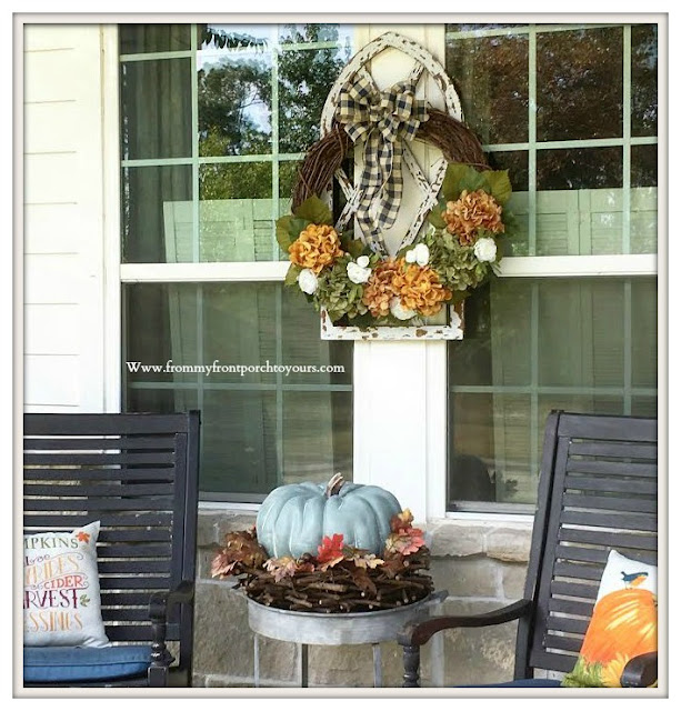 Fall -Porch-Hydrangea-Wreath-DIY-rocking-chairs-From My Front Porch To Yours