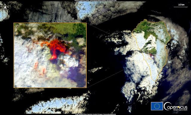 La erupción volcánica en la isla de La Palma vista desde satélite
