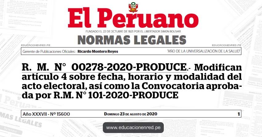 R. M. N° 00278-2020-PRODUCE.- Modifican artículo 4 sobre fecha, horario y modalidad del acto electoral, así como la Convocatoria aprobada por R.M. N° 101-2020-PRODUCE