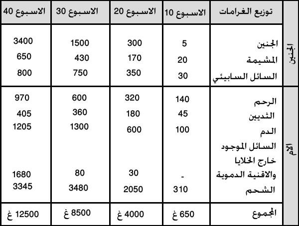 جدول توزيع زيادة الوزن بين الحامل والجنين