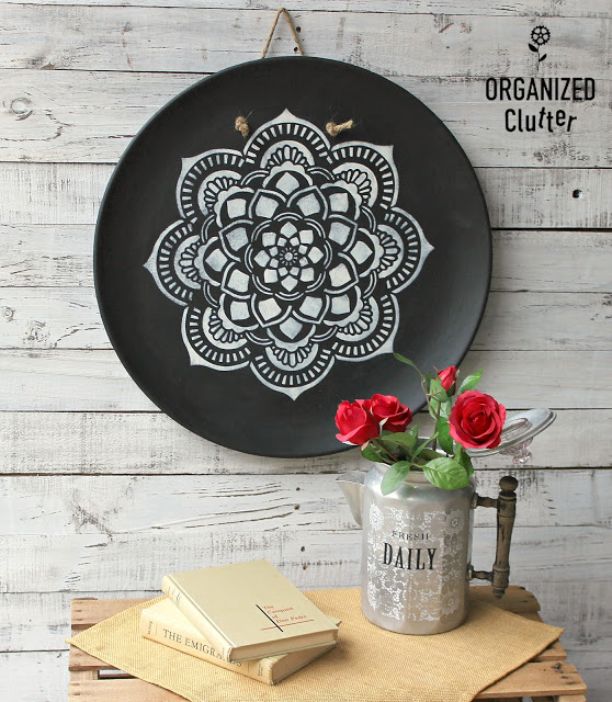 Photo of mandala stenciled on a large wall platter