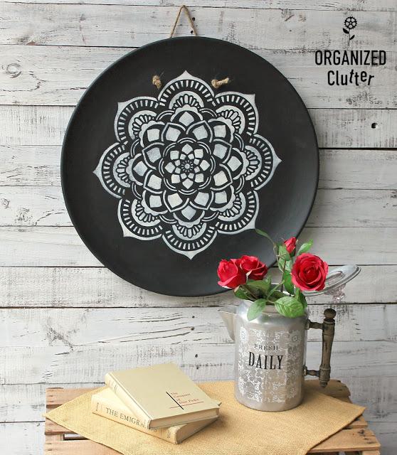 Photo of mandala stenciled on a large wall platter