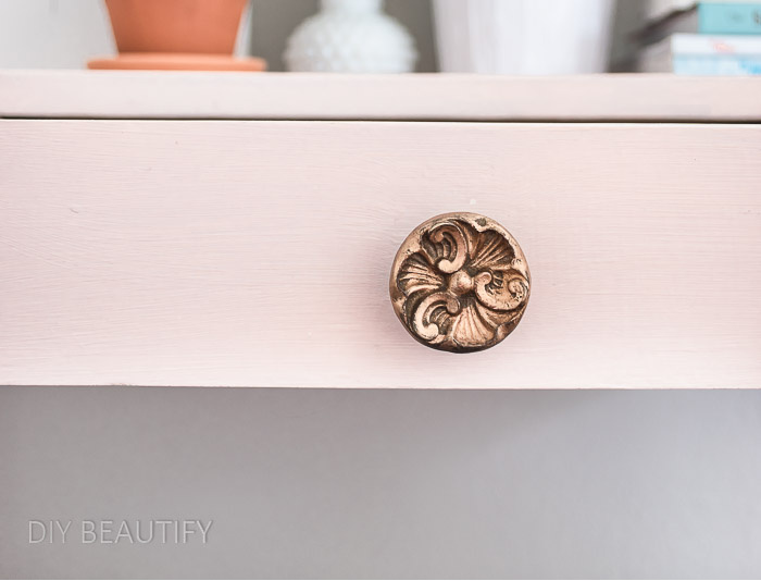 vintage drawer knob after rub n buff