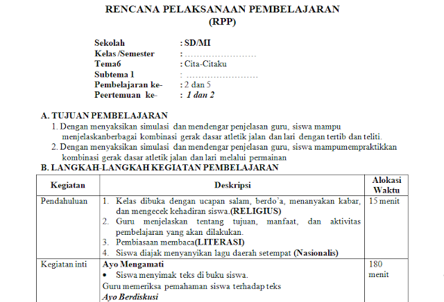 RPP 1 Lembar PJOK kelas 1 SD/MI