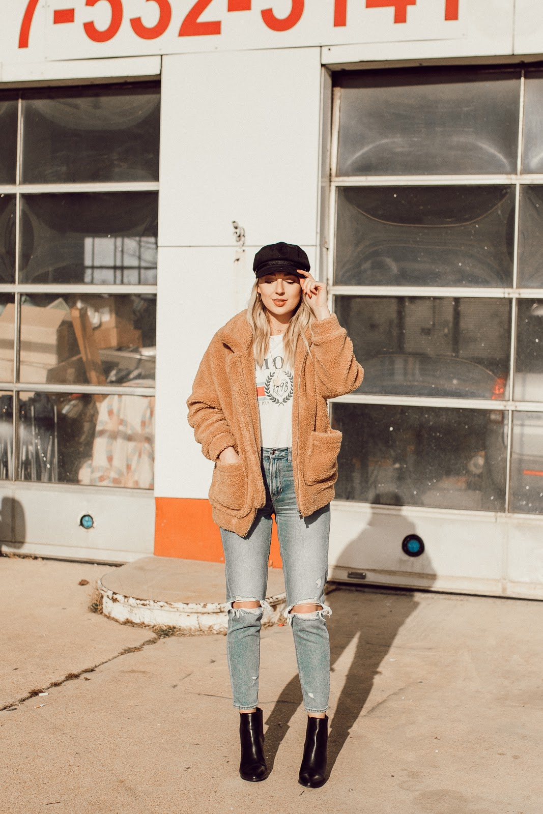 casual winter outfit with a teddy coat