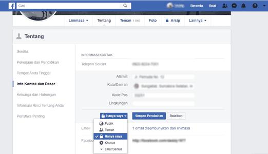pengaturan dasar privasi facebook