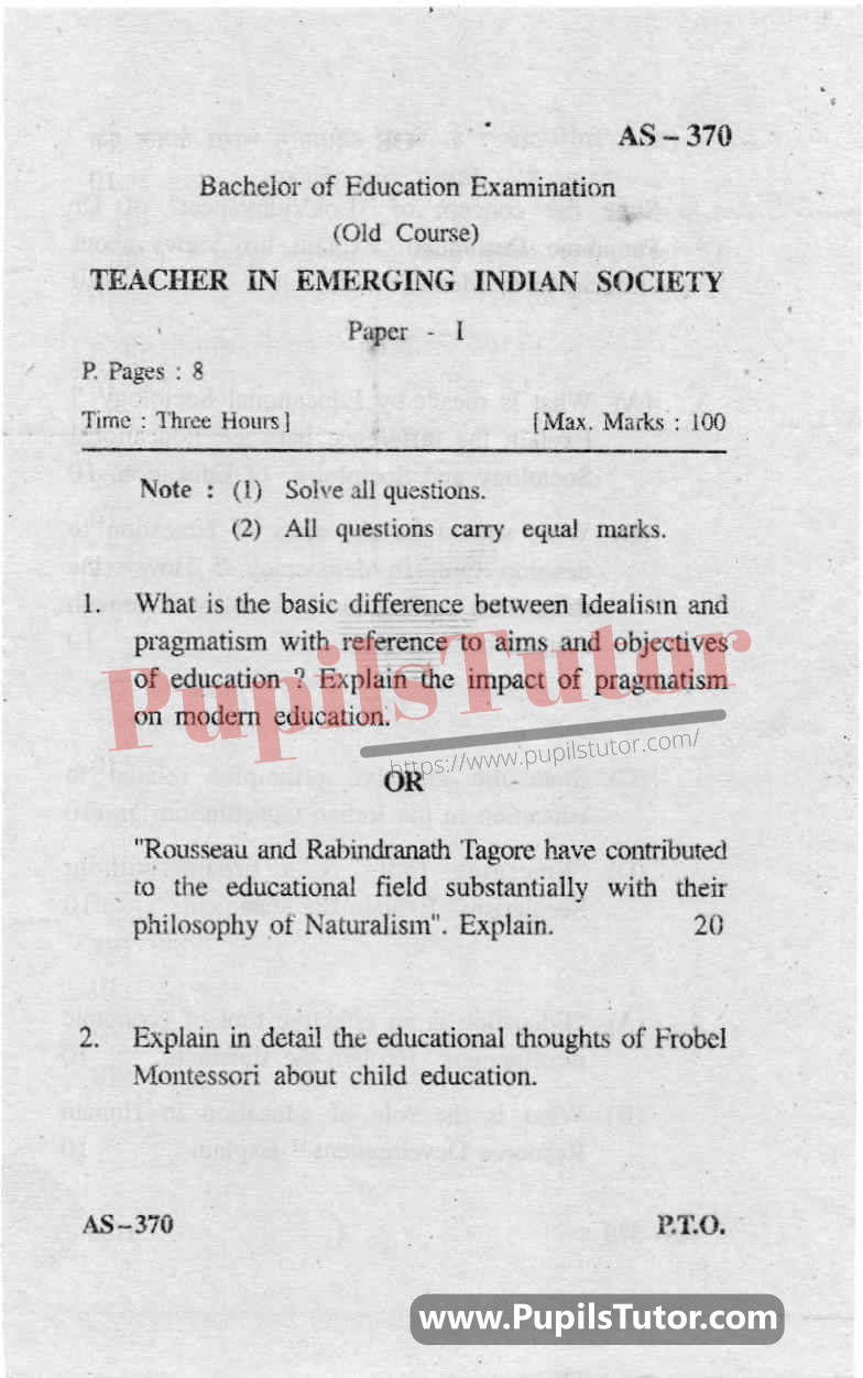Teacher In Emerging Indian Society Question Paper In English