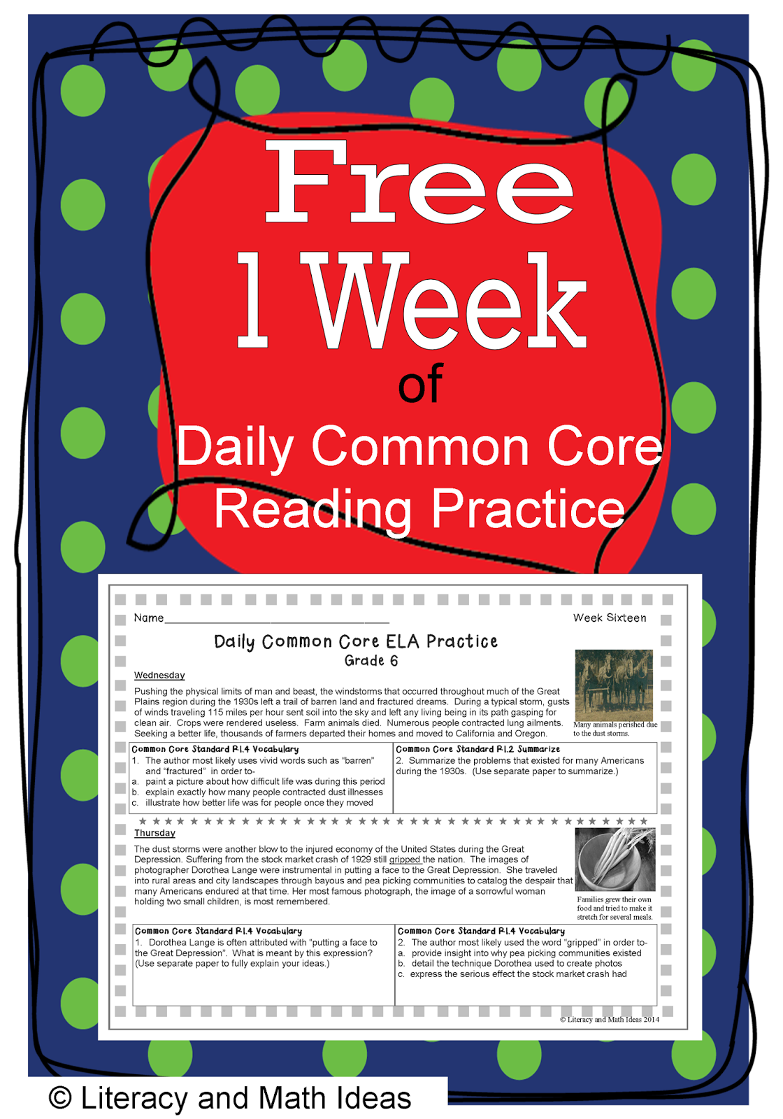 Literacy Amp Math Ideas Free Daily Common Core Grade 6 One