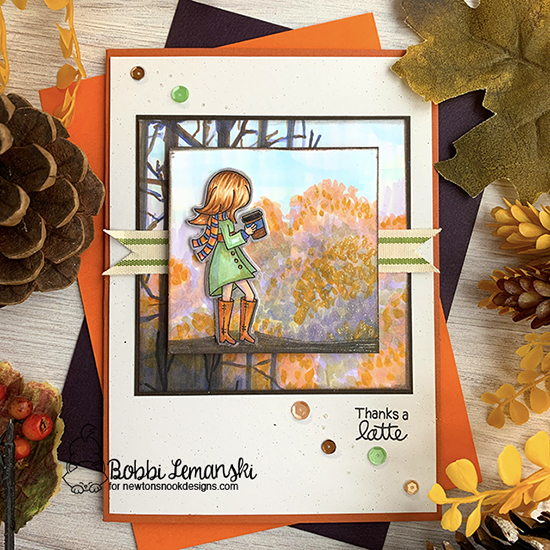 Fall Coffee Scene by Bobbi features Pumpkin Latte Stamp Set and Die Set by Newton's Nook Designs #newtonsnook