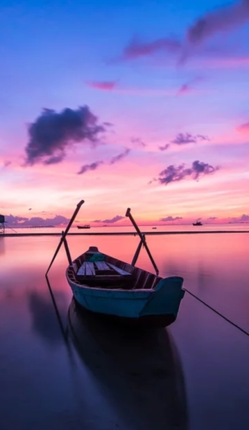 Blue boat after sunset HD mobile wallpaper