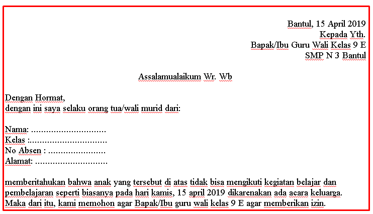 Contoh Surat Izin Ke Sekolah Karena Ada Urusan Keluarga