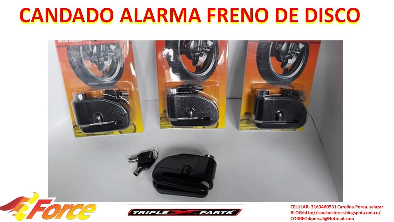 c23c7a81470c2 FORCE CAUCHOS Y LUJOS PARA MOTOS  CANDADO ALARMA PARA FRENO DE DISCO