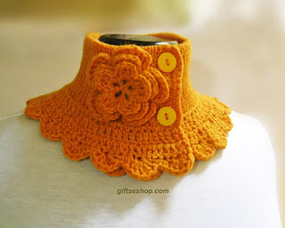 knit neck warmer,  knit cowl, yellow scarf