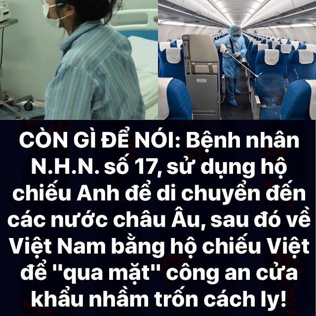 Bệnh nhân số 17 có 2 hộ chiếu: dùng hộ chiếu Việt Nam để qua mặt an ninh sân bay